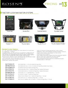 PRICING. Factory-Look Navigation Systems