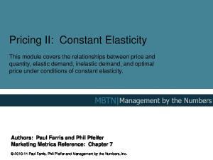 Pricing II: Constant Elasticity