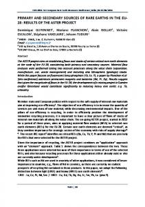 PRIMARY AND SECONDARY SOURCES OF RARE EARTHS IN THE EU 28: RESULTS OF THE ASTER PROJECT