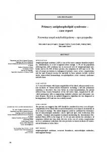 Primary antiphospholipid syndrome case report