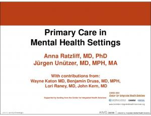 Primary Care in Mental Health Settings