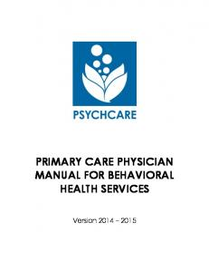 PRIMARY CARE PHYSICIAN MANUAL FOR BEHAVIORAL HEALTH SERVICES