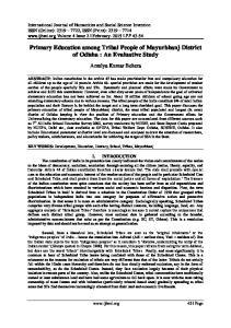 Primary Education among Tribal People of Mayurbhanj District of Odisha : An Evaluative Study