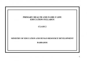 PRIMARY HEALTH AND FAMILY LIFE EDUCATION SYLLABUS CLASS 2
