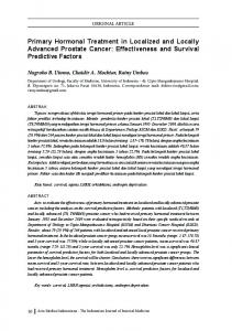 Primary Hormonal Treatment in Localized and Locally Advanced Prostate Cancer: Effectiveness and Survival Predictive Factors