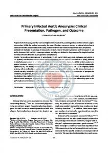 Primary Infected Aortic Aneurysm: Clinical Presentation, Pathogen, and Outcome
