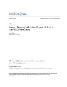 Primary Nursing: A Cost and Quality Effective Patient Care Structure
