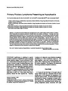 Primary Pituitary Lymphoma Presenting as Hypophysitis