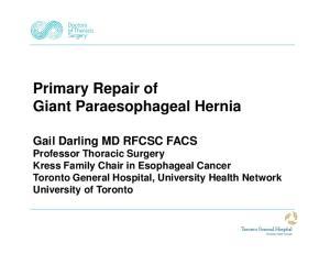 Primary Repair of Giant Paraesophageal Hernia