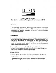 Primary Schools in Luton Coordinated Admission Arrangements for September 2015