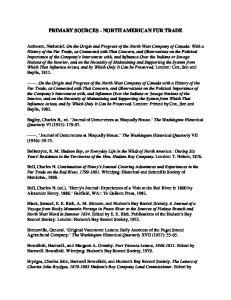 PRIMARY SOURCES - NORTH AMERICAN FUR TRADE