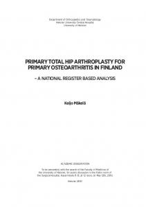 Primary total hip arthroplasty for primary osteoarthritis in Finland