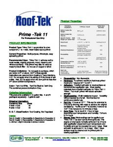 Prime -Tek 11 For Professional Use Only