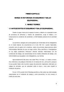 PRIMER CAPITULO. MARCO DE REFERENCIA DE SEGURIDAD Y SALUD OCUPACIONAL. 1. MARCO TEORICO. 1.1 ANTECEDENTES DE SEGURIDAD Y SALUD OCUPACIONAL