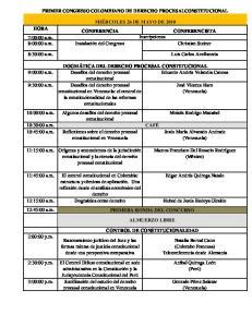 PRIMER CONGRESO COLOMBIANO DE DERECHO PROCESALCONSTITUCIONAL. 8:30:00 a.m. Luis Carlos Avellaneda