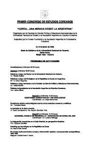 PRIMER CONGRESO DE ESTUDIOS COREANOS