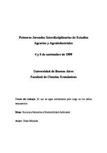 Primeras Jornadas Interdisciplinarias de Estudios Agrarios y Agroindustriales. 4 y 5 de noviembre de 1999