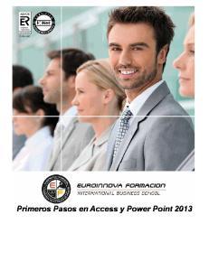 Primeros Pasos en Access y Power Point 2013