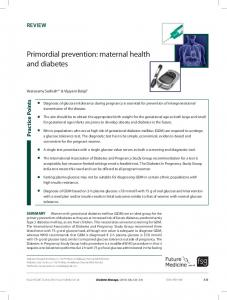 Primordial prevention: maternal health and diabetes