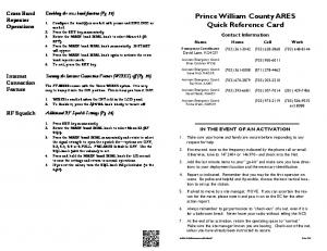 Prince William County ARES Quick Reference Card