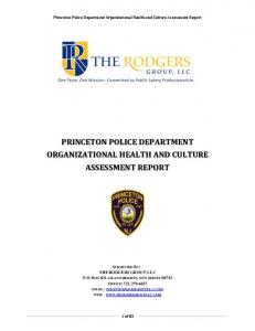 PRINCETON POLICE DEPARTMENT ORGANIZATIONAL HEALTH AND CULTURE ASSESSMENT REPORT