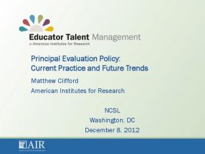 Principal Evaluation Policy: Current Practice and Future Trends