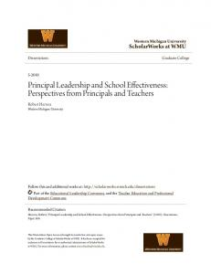 Principal Leadership and School Effectiveness: Perspectives from Principals and Teachers