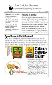 Principal s Message. Open House & Chili Cookout!
