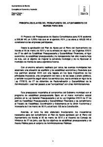 PRINCIPALES CLAVES DEL PRESUPUESTO DEL AYUNTAMIENTO DE MURCIA PARA 2015