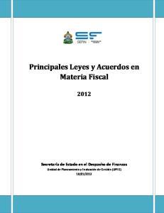 Principales Leyes y Acuerdos en Materia Fiscal