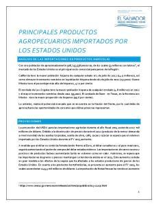 PRINCIPALES PRODUCTOS AGROPECUARIOS IMPORTADOS POR LOS ESTADOS UNIDOS