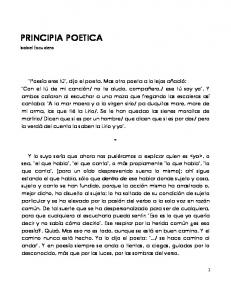 PRINCIPIA POETICA. Isabel Escudero