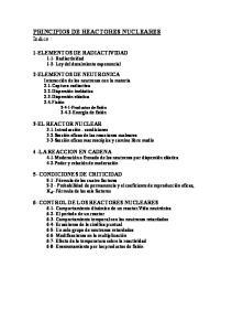 PRINCIPIOS DE REACTORES NUCLEARES Indice :