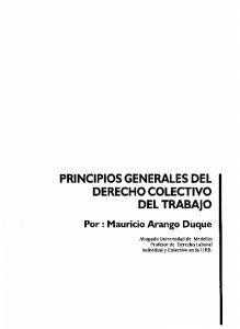 PRINCIPIOS GENERALES DEL DERECHO COLECTIVO DEL TRABAJO