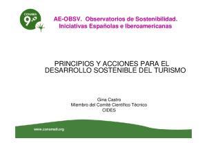 PRINCIPIOS Y ACCIONES PARA EL DESARROLLO SOSTENIBLE DEL TURISMO