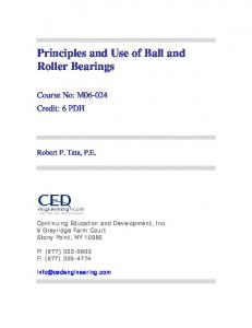 Principles and Use of Ball and Roller Bearings