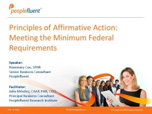 Principles of Affirmative Action: Meeting the Minimum Federal Requirements