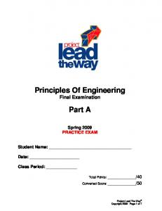 Principles Of Engineering Final Examination. Part A