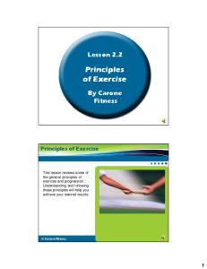 Principles of Exercise. Principles of Exercise