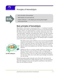 Principles of Hemodialysis. Basic principles of hemodialysis