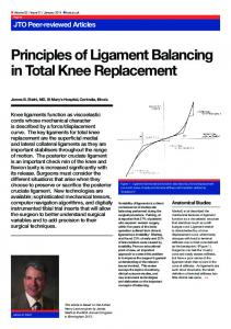 Principles of Ligament Balancing in Total Knee Replacement
