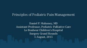 Principles of Pediatric Pain Management