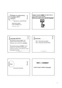 Principles of programming languages Lecture 2. Grammars. Language definition. Part I