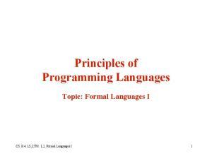 Principles of Programming Languages Topic: Formal Languages I