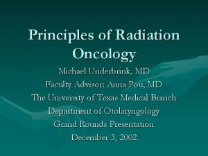 Principles of Radiation Oncology