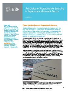 Principles of Responsible Sourcing in Myanmar s Garment Sector