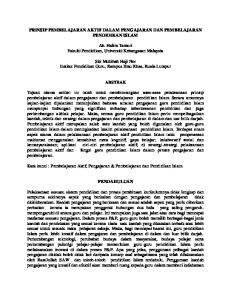 PRINSIP PEMBELAJARAN AKTIF DALAM PENGAJARAN DAN PEMBELAJARAN PENDIDIKAN ISLAM. Ab. Halim Tamuri Fakulti Pendidikan, Universiti Kebangsaan Malaysia
