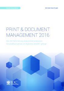 PRINT & DOCUMENT MANAGEMENT 2016