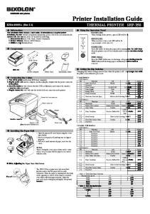 Printer Installation Guide THERMAL PRINTER SRP-350