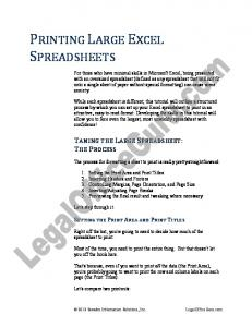 PRINTING LARGE EXCEL SPREADSHEETS